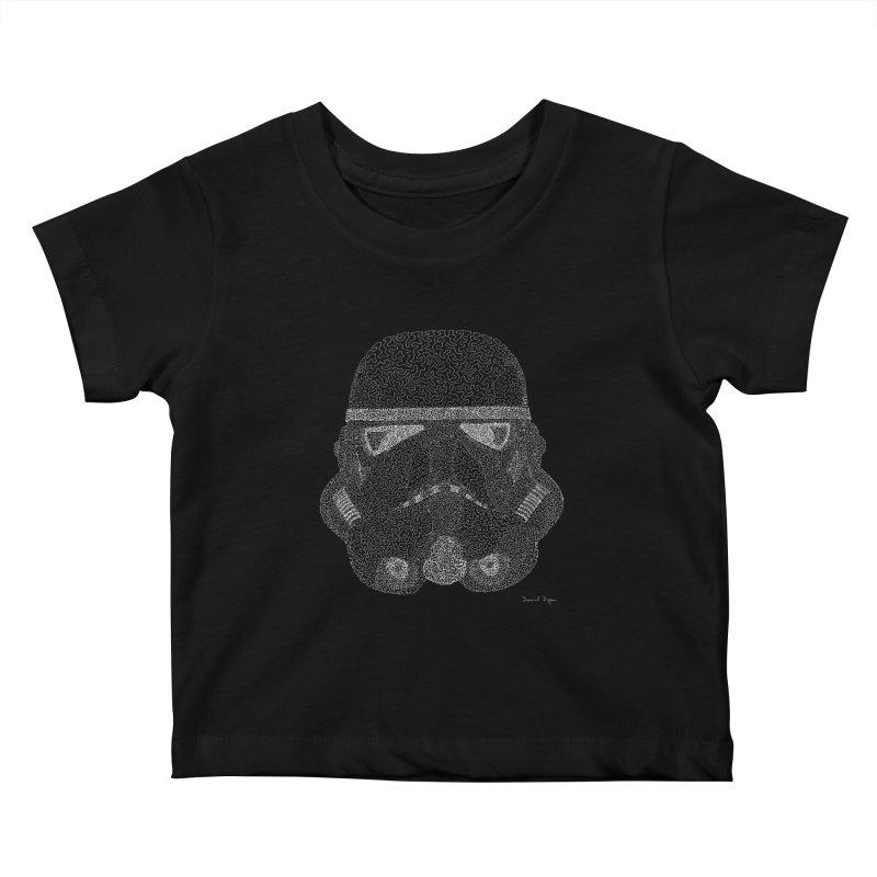 Trooper WHITE - One Continuous Line Kids Baby T-Shirt by Daniel Dugan's Artist Shop