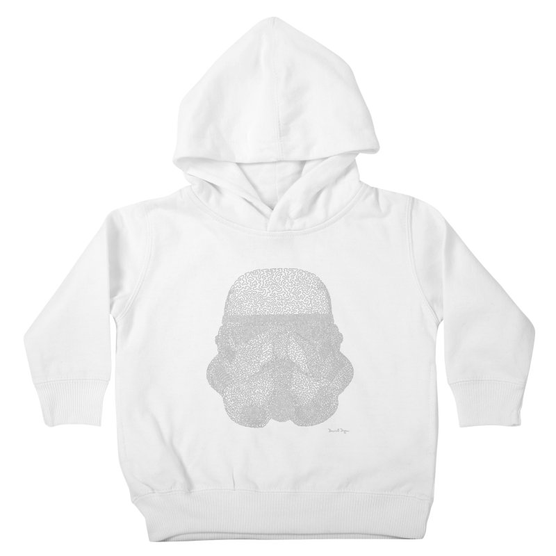 Trooper WHITE - One Continuous Line Kids Toddler Pullover Hoody by Daniel Dugan's Artist Shop