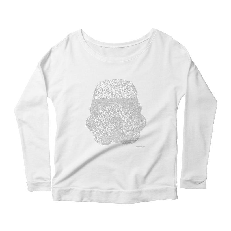 Trooper WHITE - One Continuous Line Women's Scoop Neck Longsleeve T-Shirt by Daniel Dugan's Artist Shop