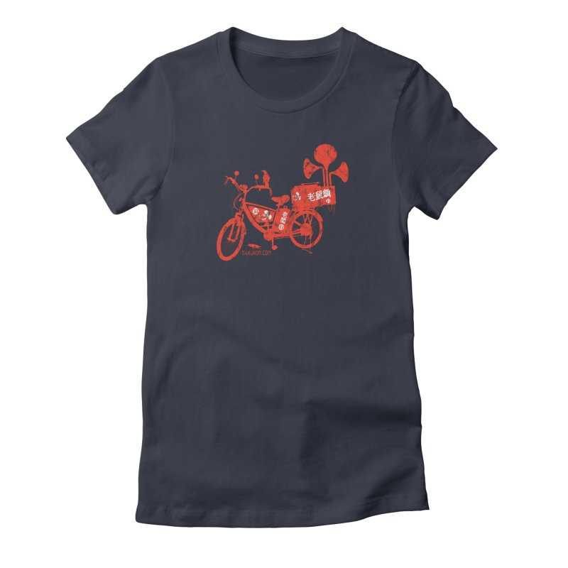 Riding Bikes & Playing Records Women's Fitted T-Shirt by DarkGarden