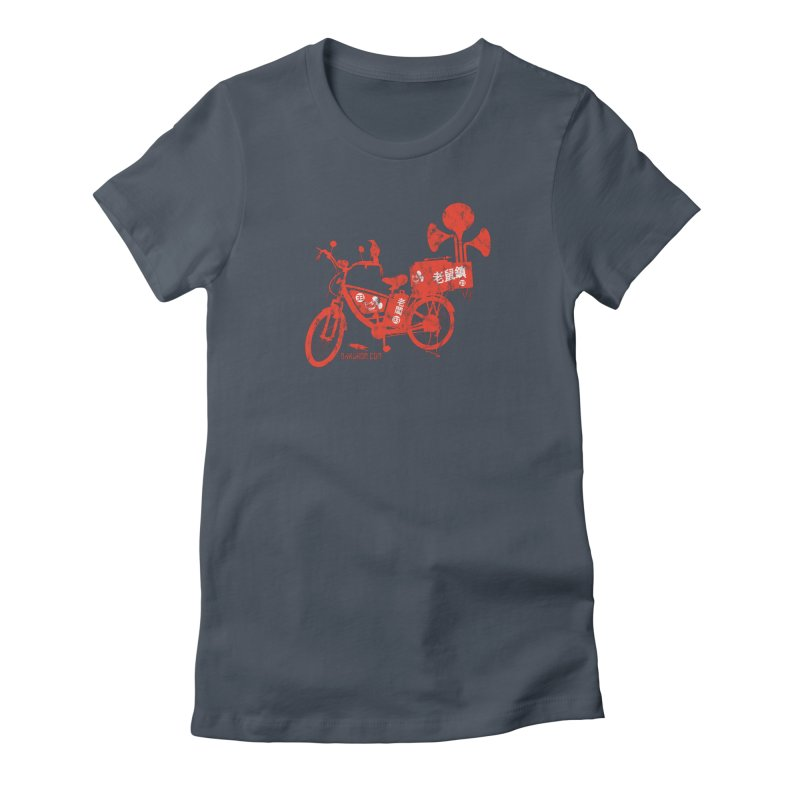 Riding Bikes & Playing Records Women's T-Shirt by DarkGarden