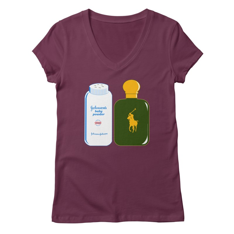 The Johnson's Baby Powder and The Polo Cologne Women's V-Neck by Dave Tees