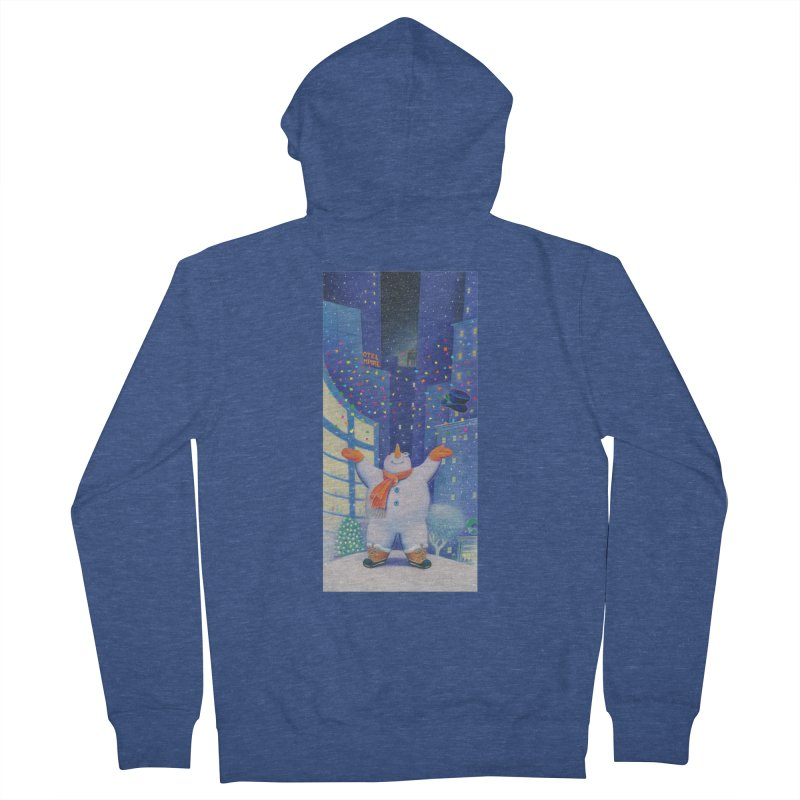 Snowman Cheer Men's French Terry Zip-Up Hoody by Dave Calver's Shop