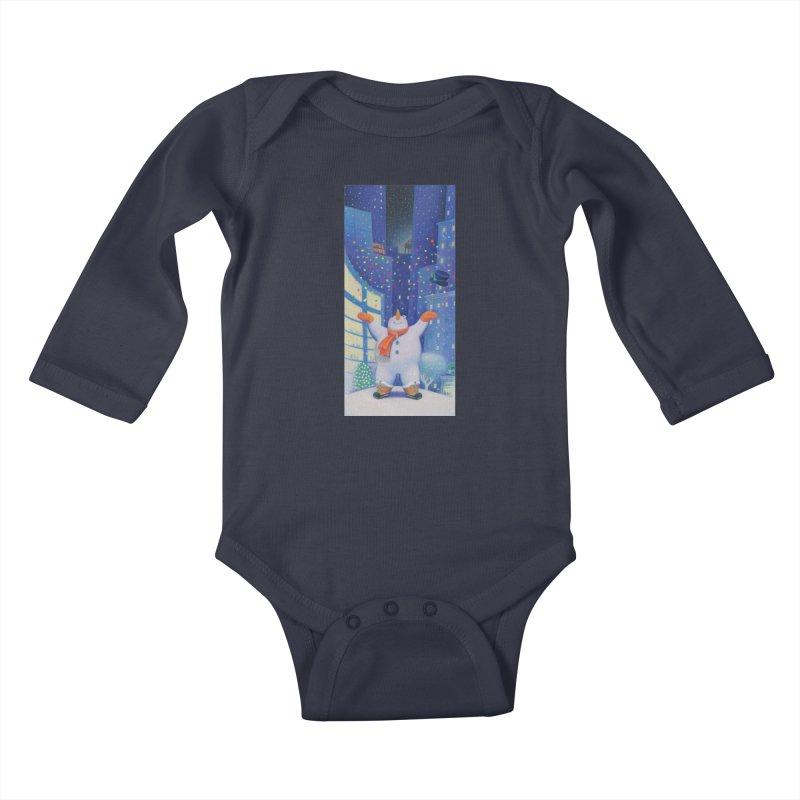 Snowman Cheer Kids Baby Longsleeve Bodysuit by Dave Calver's Shop