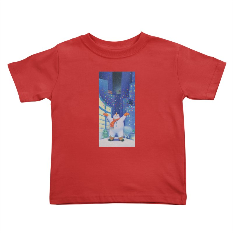 Snowman Cheer Kids Toddler T-Shirt by Dave Calver's Shop