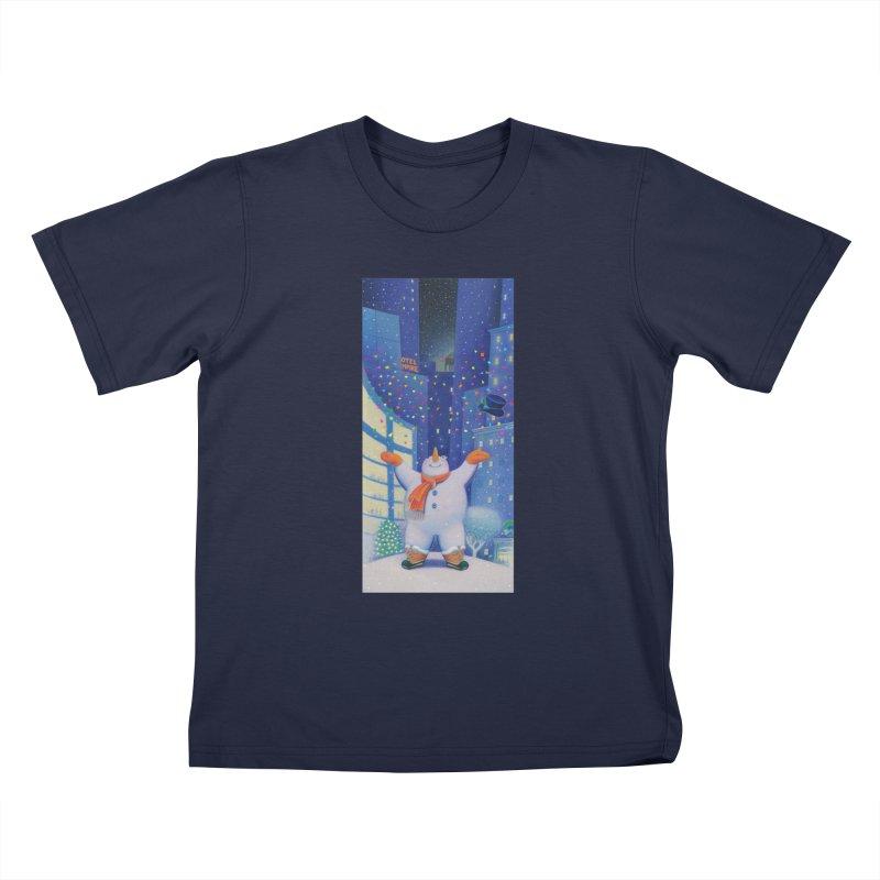 Snowman Cheer Kids T-Shirt by Dave Calver's Shop