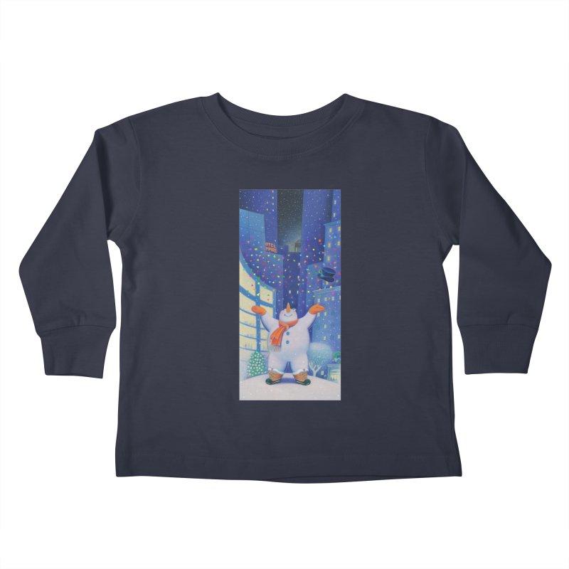Snowman Cheer Kids Toddler Longsleeve T-Shirt by Dave Calver's Shop