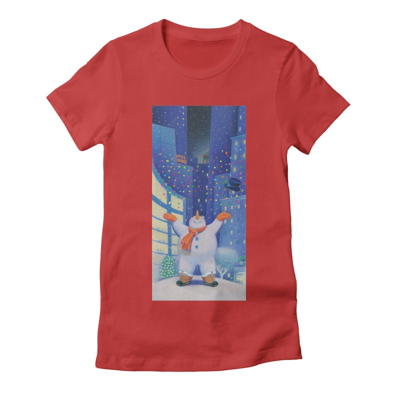 Snowman Cheer Women's Fitted T-Shirt by Dave Calver's Shop