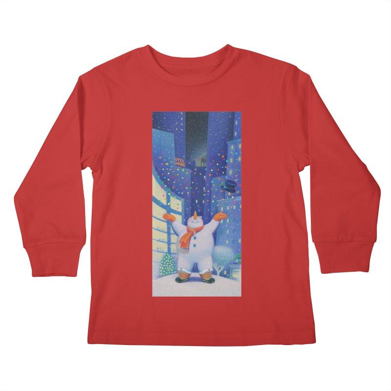 Snowman Cheer Kids Longsleeve T-Shirt by Dave Calver's Shop