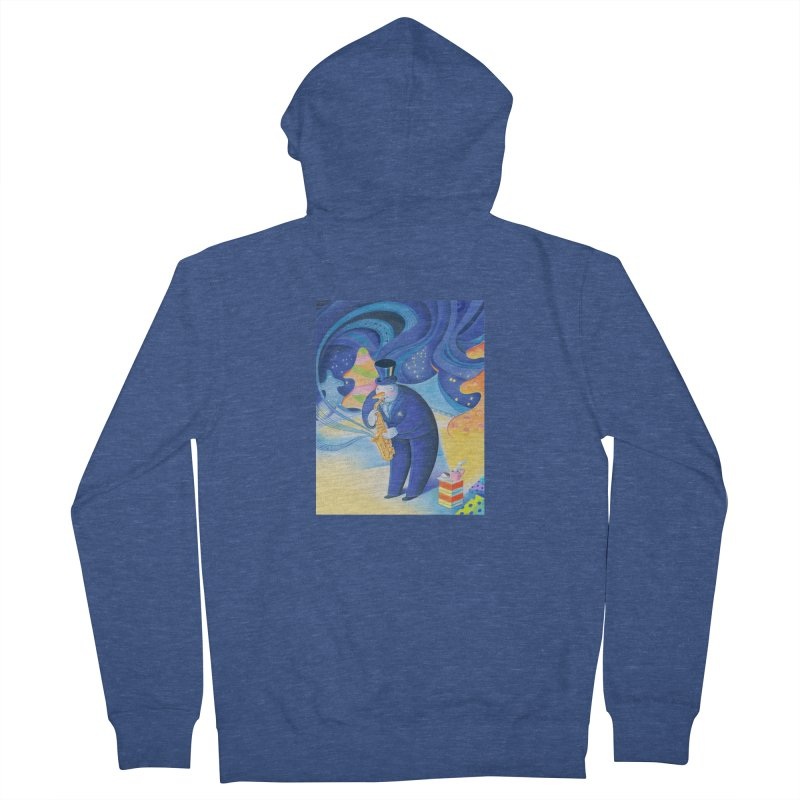 Saxophone Snowman Women's French Terry Zip-Up Hoody by Dave Calver's Shop