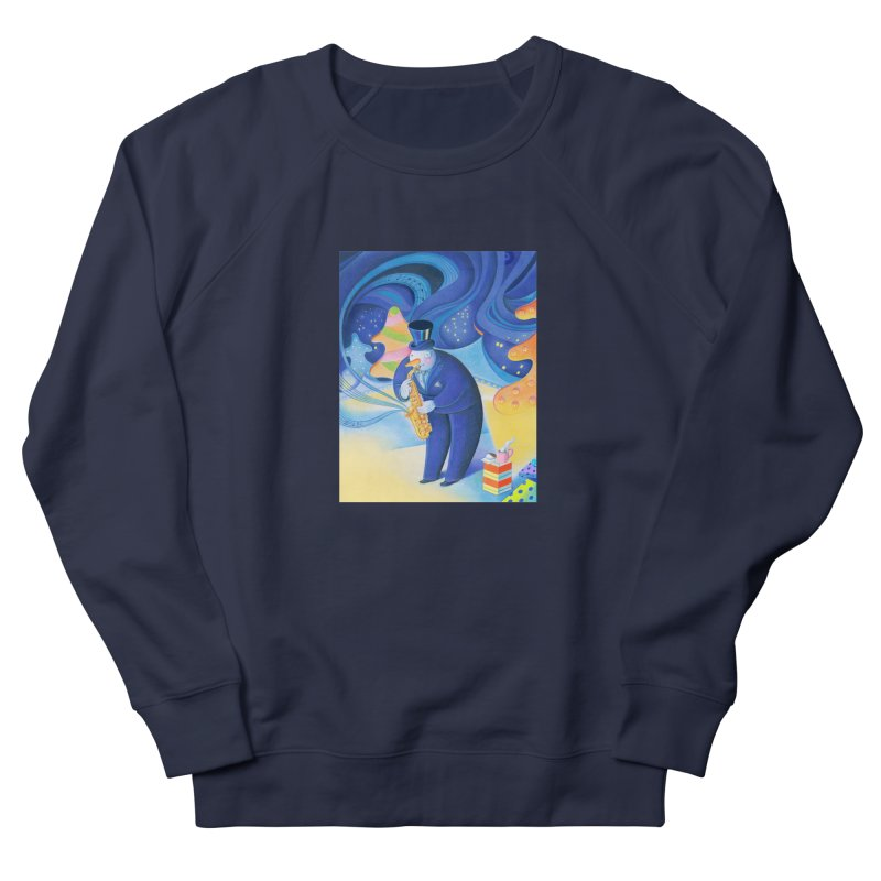 Saxophone Snowman Men's French Terry Sweatshirt by Dave Calver's Shop