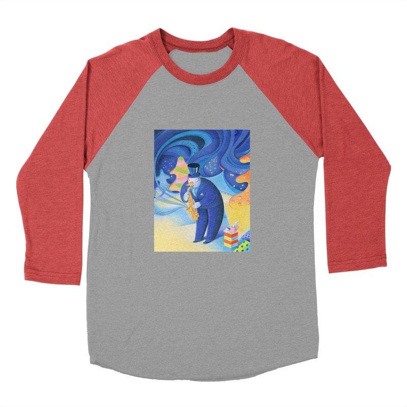 Saxophone Snowman Women's Baseball Triblend Longsleeve T-Shirt by Dave Calver's Shop
