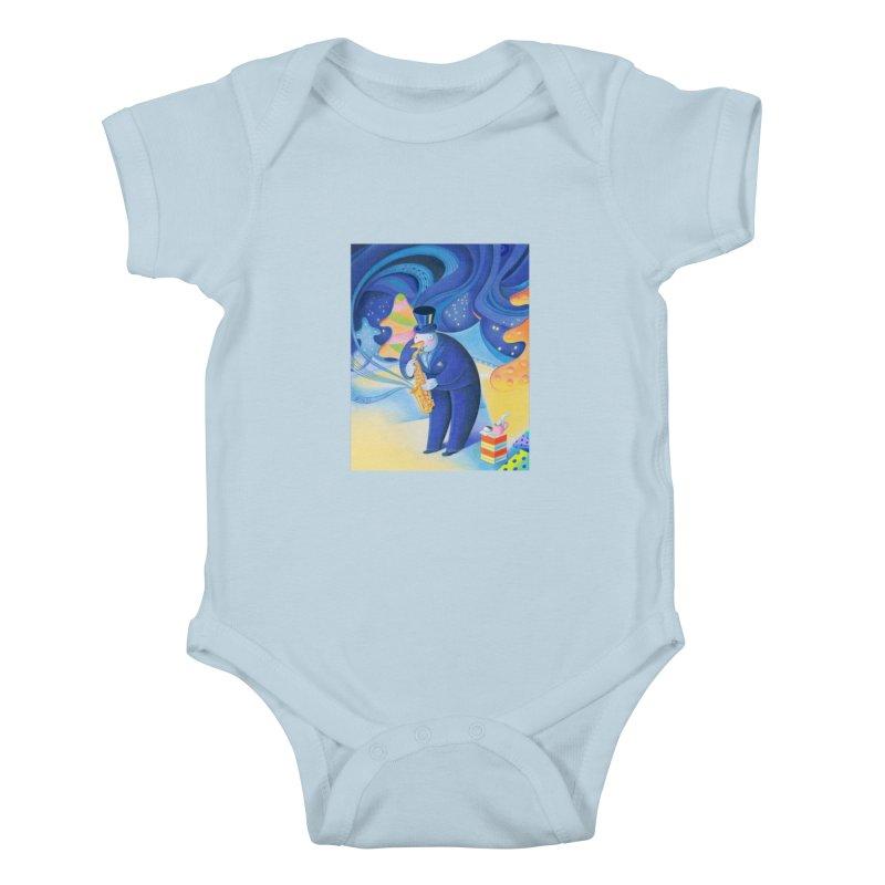 Saxophone Snowman Kids Baby Bodysuit by Dave Calver's Shop