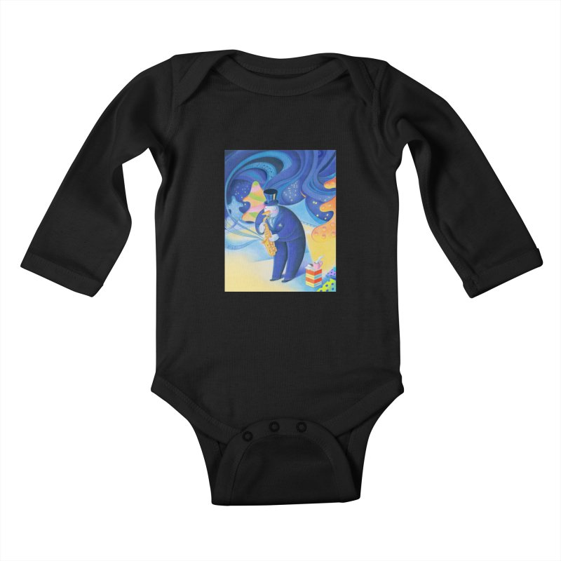 Saxophone Snowman Kids Baby Longsleeve Bodysuit by Dave Calver's Shop