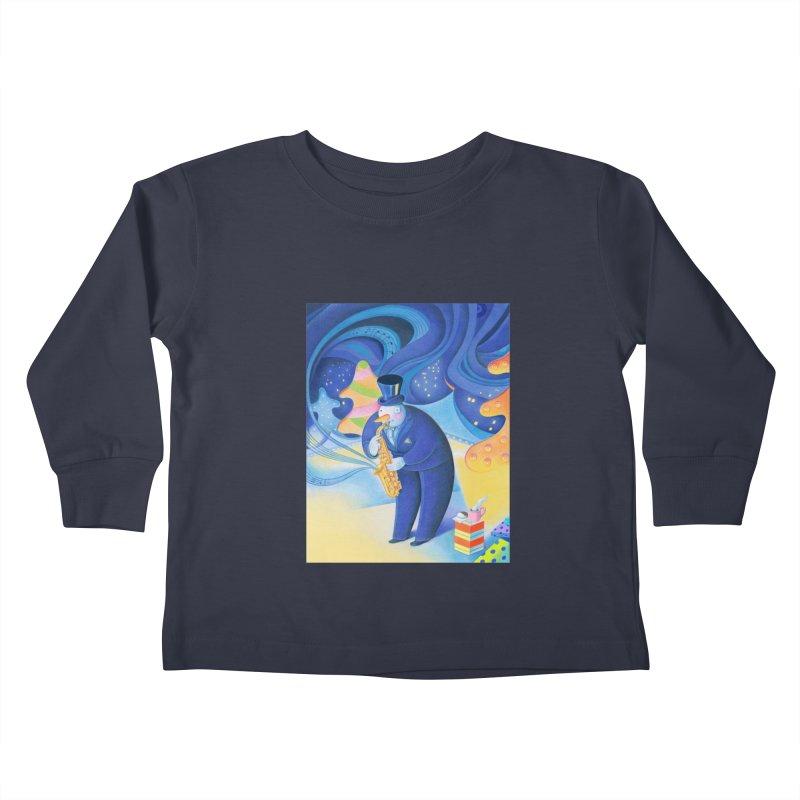 Saxophone Snowman Kids Toddler Longsleeve T-Shirt by Dave Calver's Shop