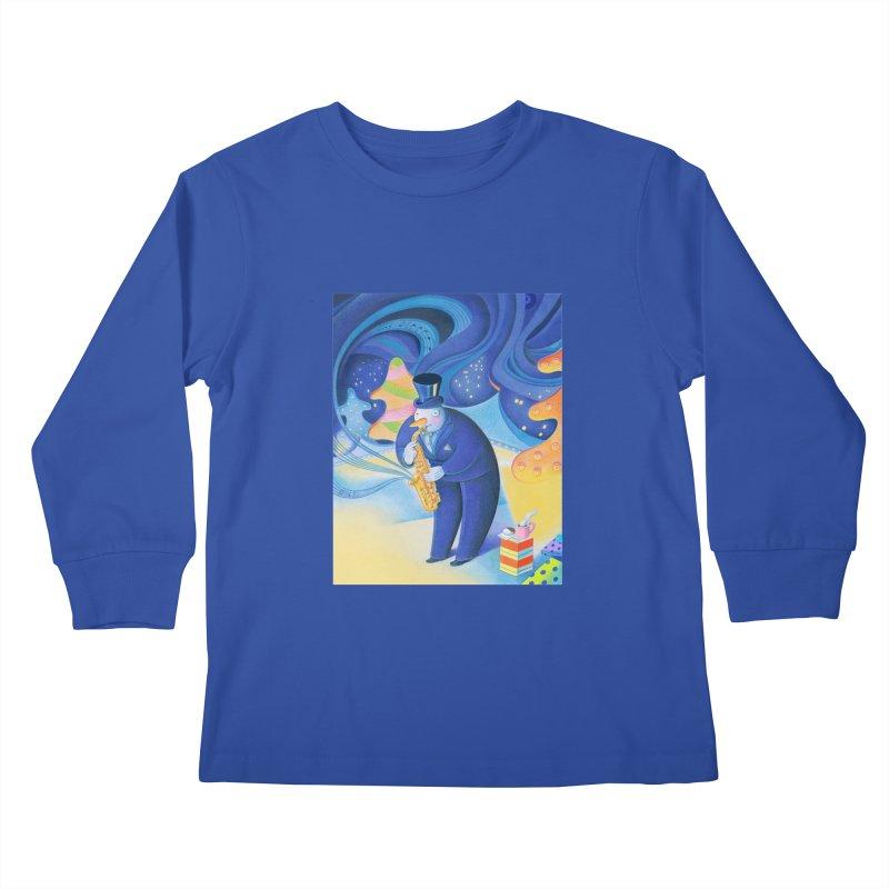 Saxophone Snowman Kids Longsleeve T-Shirt by Dave Calver's Shop
