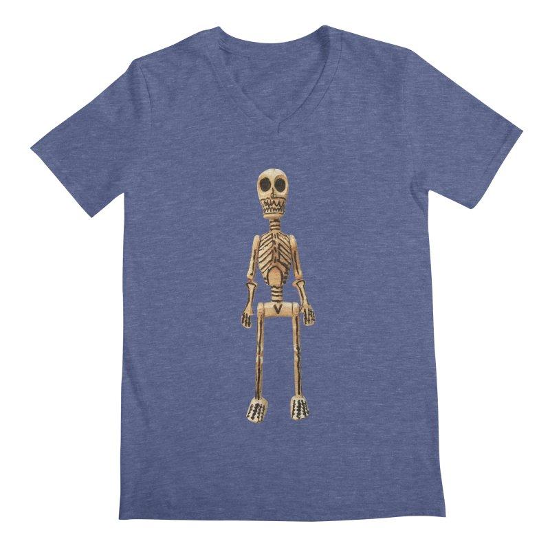 Skeleton Men's Regular V-Neck by Dave Calver's Shop