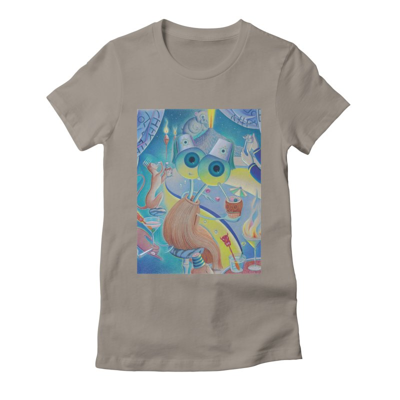 The Mammal Lounge in Women's Fitted T-Shirt Warm Grey by Dave Calver's Shop