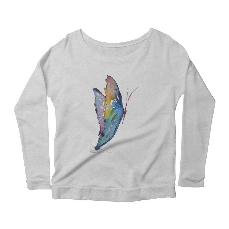 Blue Butterfly Women's Longsleeve T-Shirt by Davis Inspired Creations