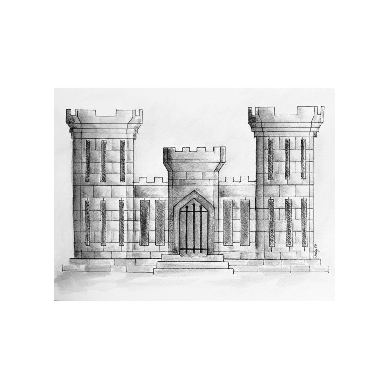 US Army Combat Engineer Castle - black & White Home Fine Art Print by Davis Inspired Creations