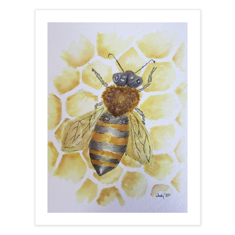 Bee on Honey Comb Home Fine Art Print by Davis Inspired Creations