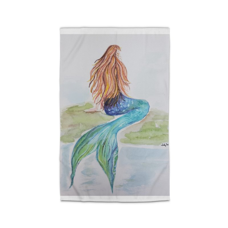 Mermaid On The Rock Home Rug by Davis Inspired Creations