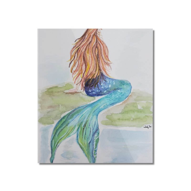 Mermaid On The Rock Home Mounted Acrylic Print by Davis Inspired Creations