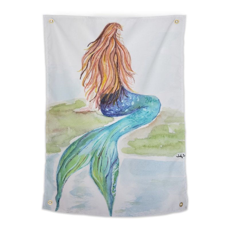 Mermaid On The Rock Home Tapestry by Davis Inspired Creations