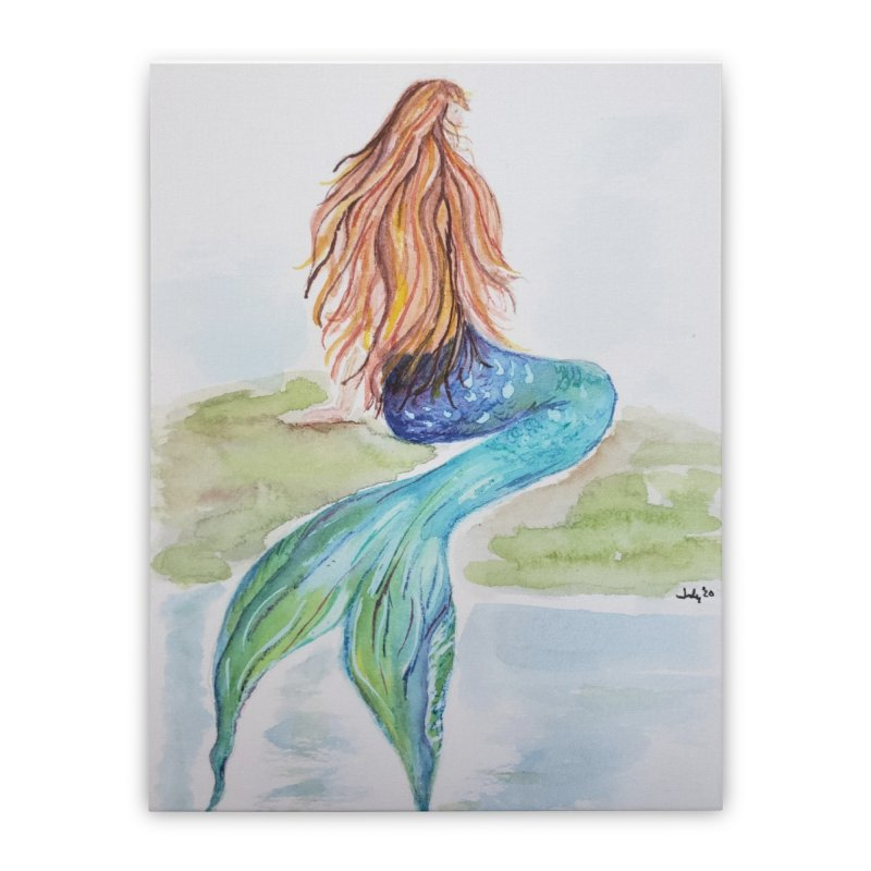 Mermaid On The Rock Home Stretched Canvas by Davis Inspired Creations