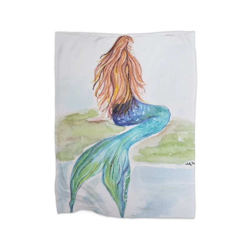 Mermaid On The Rock Home Blanket by Davis Inspired Creations