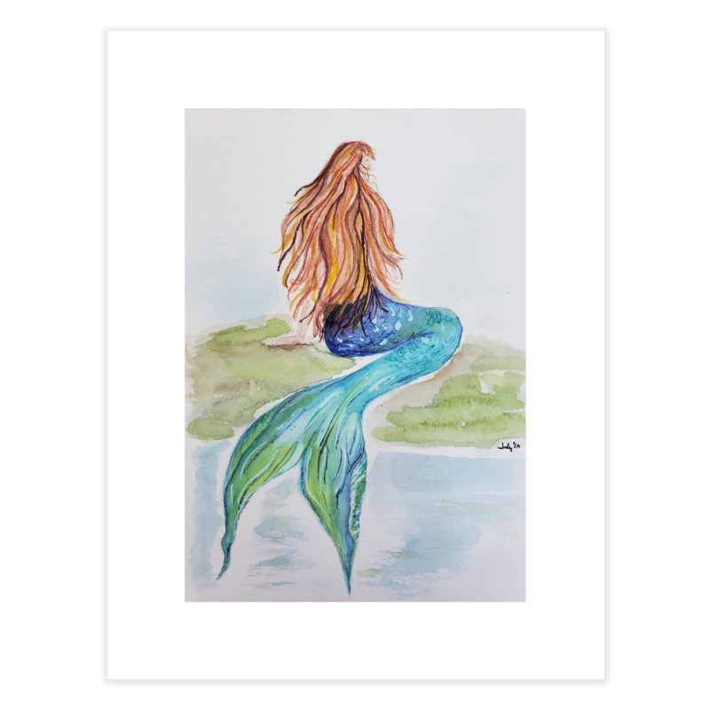 Mermaid On The Rock Home Fine Art Print by Davis Inspired Creations