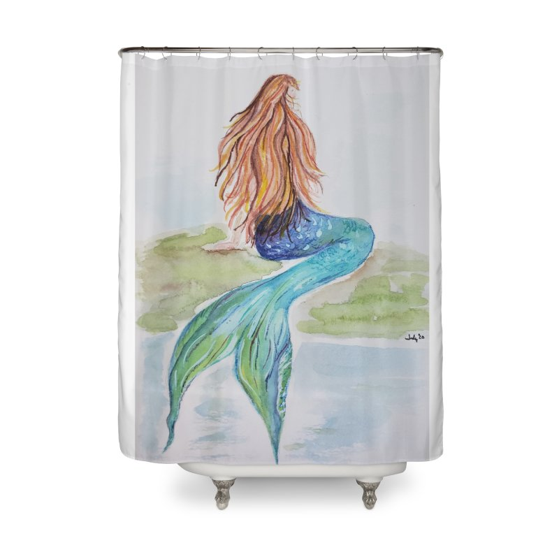 Mermaid On The Rock Home Shower Curtain by Davis Inspired Creations