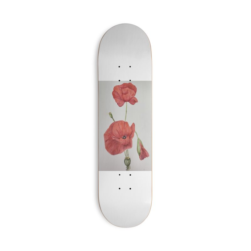 Red Poppies Accessories Skateboard by Davis Inspired Creations