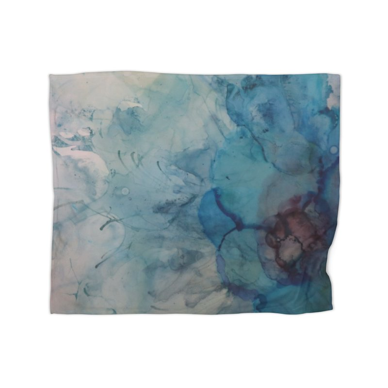 Blue Floral Abstract Home Blanket by Davis Inspired Creations
