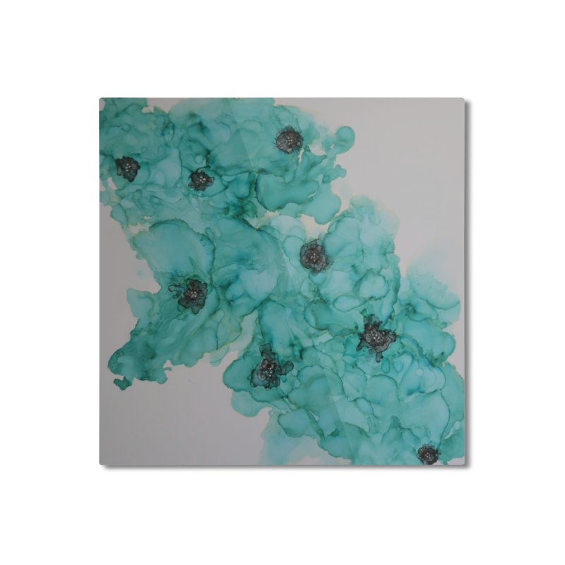 Turquoise Flower Garden Home Mounted Aluminum Print by Davis Inspired Creations