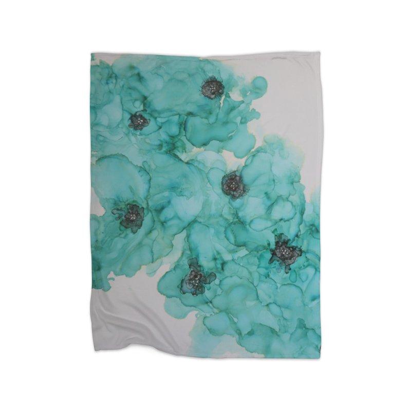 Turquoise Flower Garden Home Blanket by Davis Inspired Creations