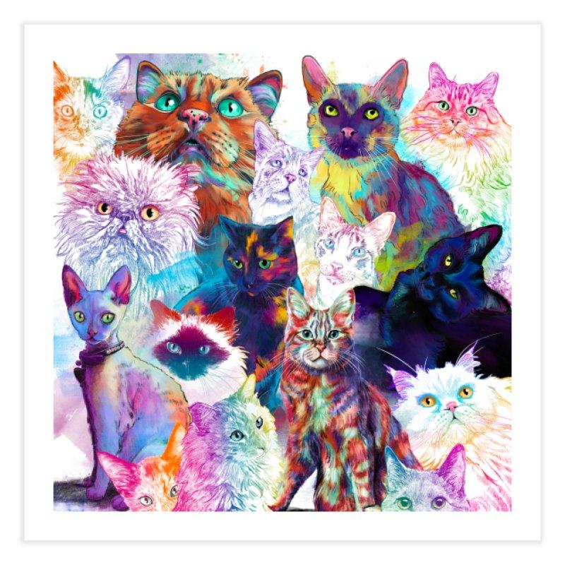 Clowder of Cats Prints and Pillows Fine Art Print by Dawgpainter's Artist Shop