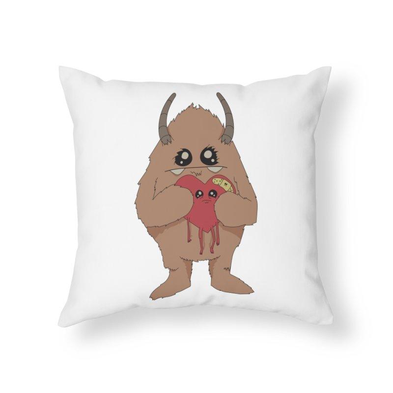 Yerman Heart Home Throw Pillow by Depressed Monsters