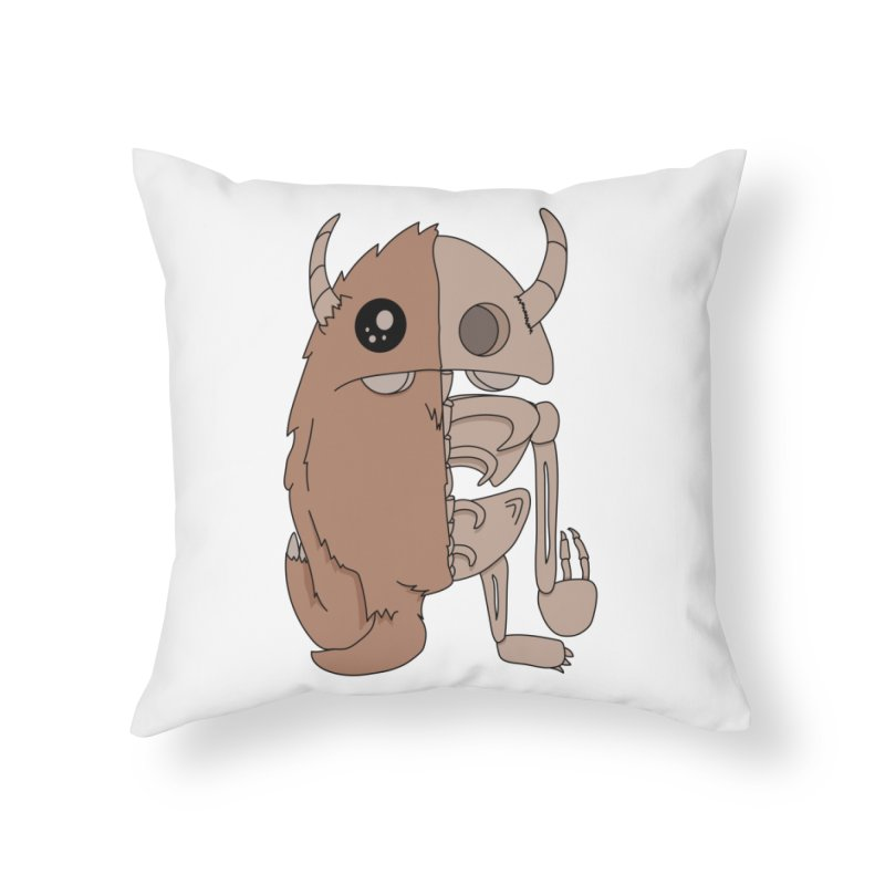 Skeleton Home Throw Pillow by Depressed Monsters