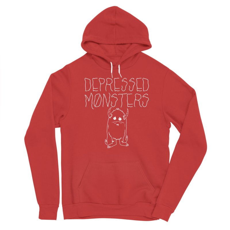Depressed Monsters white logo Women's Pullover Hoody by Depressed Monsters