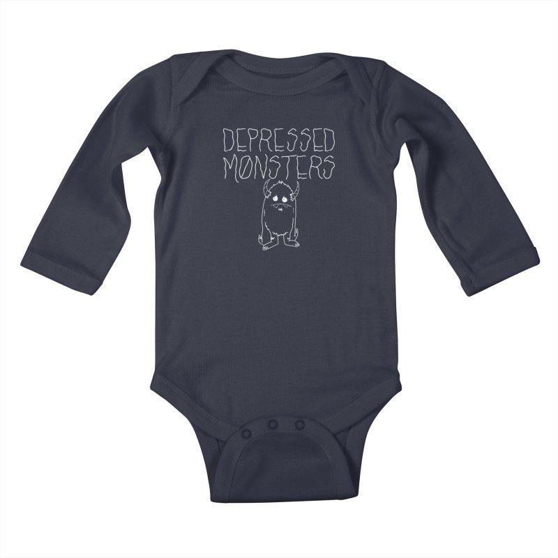 Depressed Monsters white logo Kids Baby Longsleeve Bodysuit by Depressed Monsters