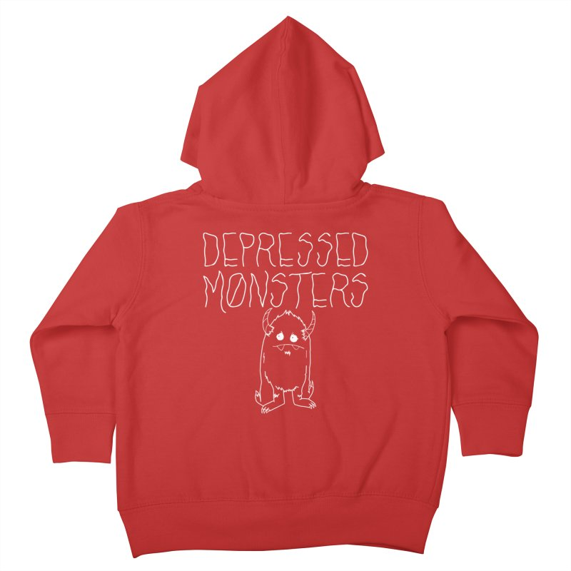 Depressed Monsters white logo Kids Toddler Zip-Up Hoody by Depressed Monsters