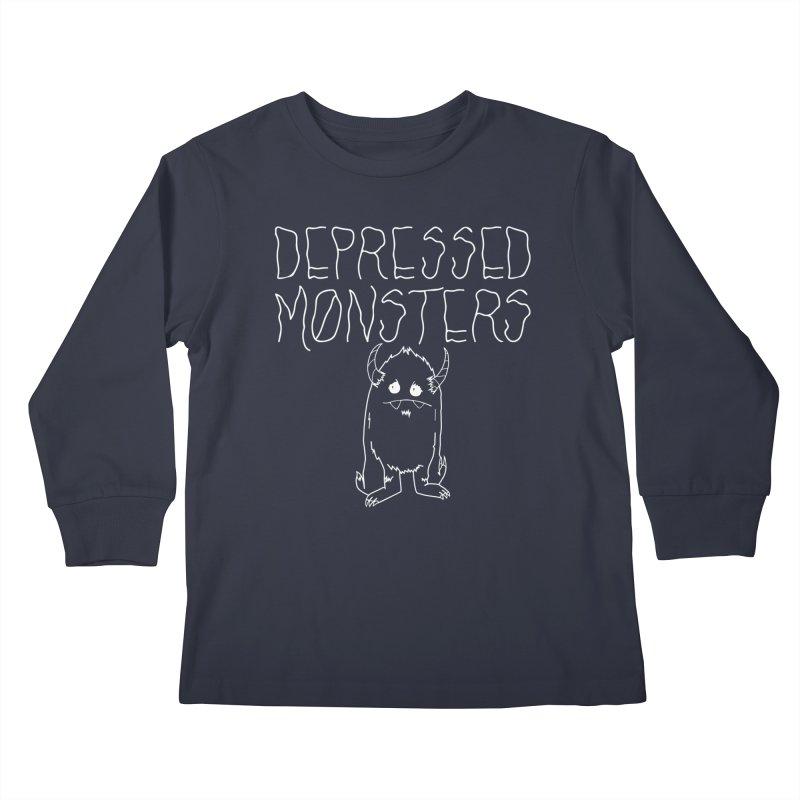 Depressed Monsters white logo Kids Longsleeve T-Shirt by Depressed Monsters
