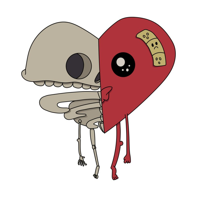 Skele Heart Home Shower Curtain by Depressed Monsters