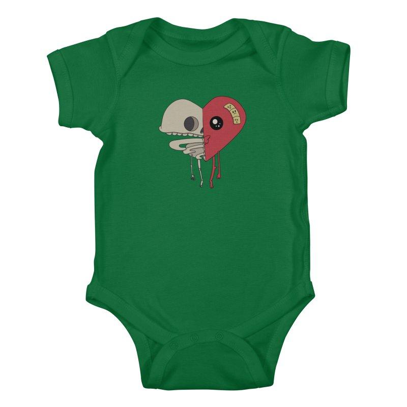 Skele Heart Kids Baby Bodysuit by Depressed Monsters