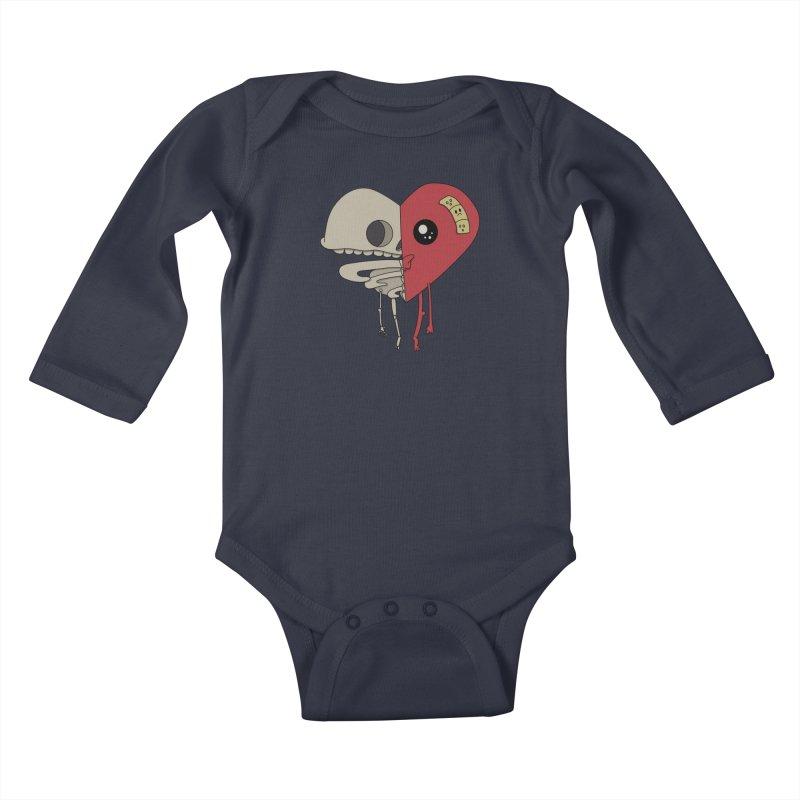Skele Heart Kids Baby Longsleeve Bodysuit by Depressed Monsters