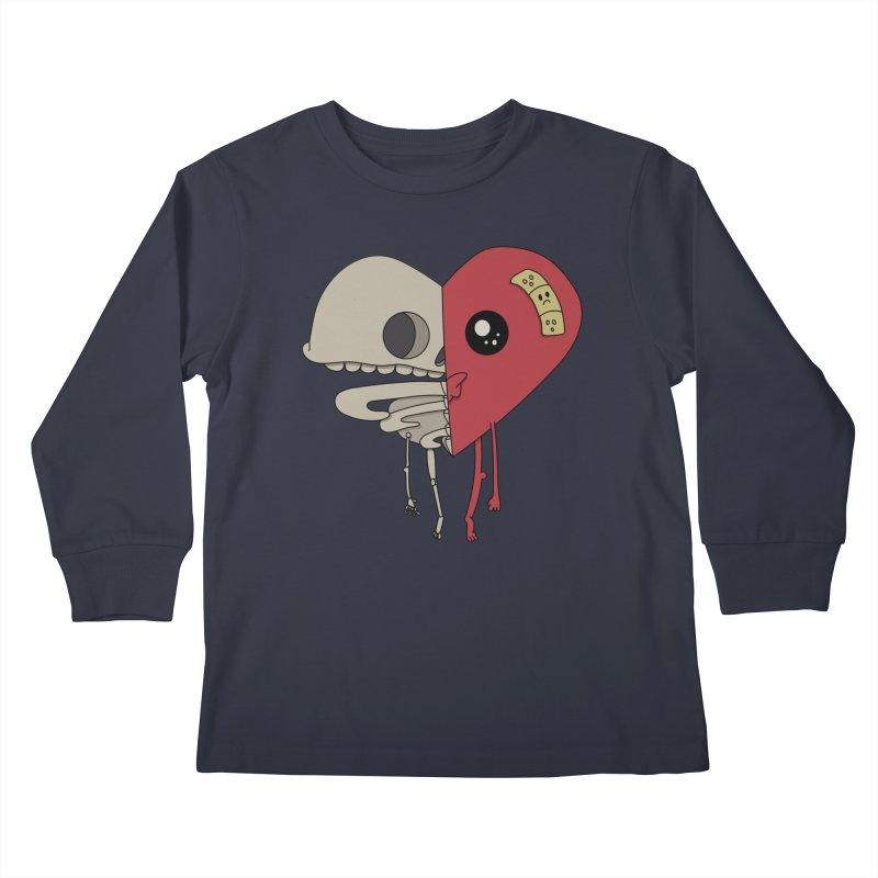 Skele Heart Kids Longsleeve T-Shirt by Depressed Monsters