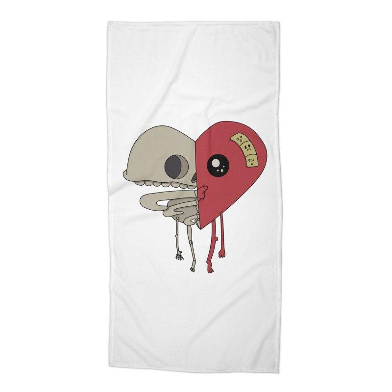 Skele Heart Accessories Beach Towel by Depressed Monsters