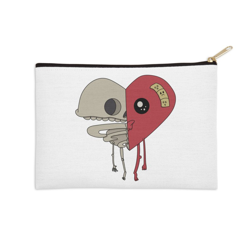 Skele Heart Accessories Zip Pouch by Depressed Monsters