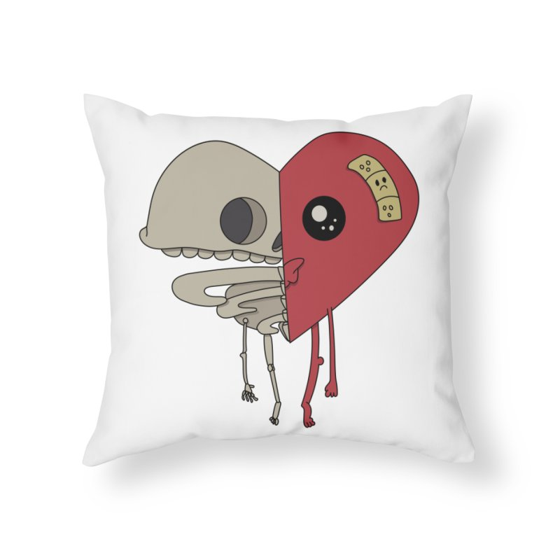 Skele Heart Home Throw Pillow by Depressed Monsters